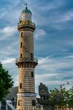 Lighthouse in Warnemuende at the Baltic Sea coast stock images