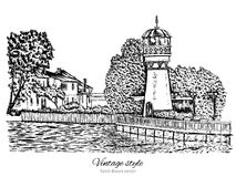 Lighthouse, water tower, Rural landscape with old farmhouse, garden on shores of lake, hand drawn  illustration isolated on Royalty Free Stock Photos