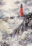 Lighthouse watercolors painted. stock image