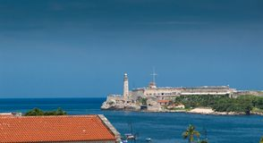 Lighthouse at waterfront, Faro Castillo Del Morro, Morro Castle, Stock Photography