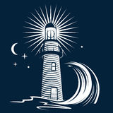 Lighthouse & Wave Royalty Free Stock Images