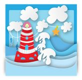 Lighthouse with waves. This file represents a lighthouse with a sea storm royalty free illustration