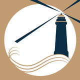 The lighthouse on the waves gives a light signal.  royalty free illustration