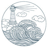 Lighthouse in the waves icon Royalty Free Stock Image