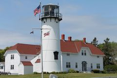 Lighthouse Waving American Flag Royalty Free Stock Photography