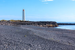 Lighthouse in West Iceland at sunny weather Royalty Free Stock Image