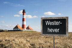 Lighthouse Westerhever with chalkboard Stock Photography