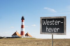 Lighthouse Westerhever with chalkboard Royalty Free Stock Photos