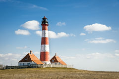 Lighthouse Westerhever on sunny day Stock Photo