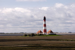 Lighthouse Westerheversand in Westerhever Stock Image