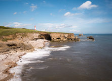 Lighthouse at Whitburn, Sunderland Coastline Stock Image