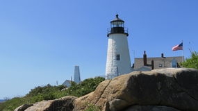 Lighthouse. White lighthouse on the coast of the mid coast of Maine Royalty Free Stock Photo