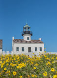 Lighthouse and Wildflowers at Cabrillo Stock Images