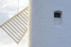 Lighthouse - windmill against the sky - Swinoujscie Stock Photography