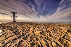 Lighthouse windmill Stawa Mlyny in Swinoujscie, Royalty Free Stock Image