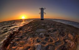 Lighthouse windmill Stawa Mlyny in Swinoujscie, Royalty Free Stock Images