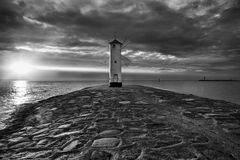 Lighthouse windmill Stawa Mlyny in Swinoujscie, Royalty Free Stock Photography