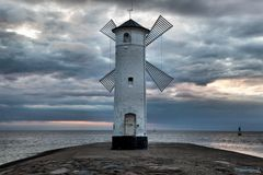 Lighthouse windmill Stawa Mlyny in Swinoujscie, Stock Image