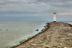 Lighthouse windmill Stawa Mlyny in Swinoujscie, Stock Photo