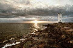 Lighthouse windmill Stawa Mlyny in Swinoujscie, Royalty Free Stock Photo