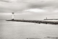 Lighthouse windmill Stawa Mlyny in Swinoujscie, Baltic Sea Royalty Free Stock Photography