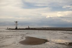 Lighthouse windmill Stawa Mlyny in Swinoujscie, Baltic Sea Stock Images