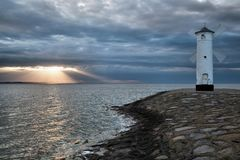 Lighthouse windmill Stawa Mlyny, Swinoujscie, Baltic Sea, Stock Photos