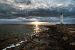 Lighthouse windmill Stawa Mlyny, Swinoujscie, Baltic Sea, Royalty Free Stock Photography
