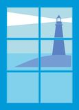 Lighthouse from window Royalty Free Stock Image