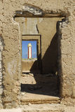 Lighthouse in the Window Frame Royalty Free Stock Photography