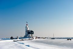 Lighthouse in winter Stock Image