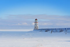 Lighthouse in winter Royalty Free Stock Images