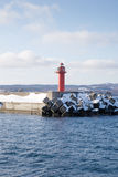 Lighthouse in winter scene Royalty Free Stock Image