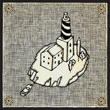 Lighthouse woodcut. Black and white drawing Royalty Free Stock Photos