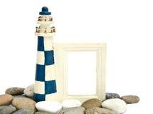 Lighthouse wooden frame Stock Photos