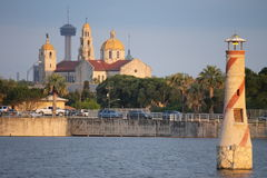 Lighthouse Woodlawn Lake & Cathedral royalty free stock image