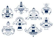 Lighthouse. Yacht Club emblem. Nautical badge Stock Image