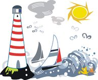 Lighthouse and yacht illustration Royalty Free Stock Photo