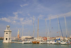 Lighthouse and yachts on the Island of San Giorgio Maggiore, Venice, Italy Stock Photography