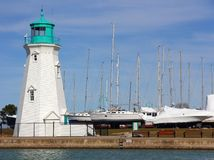 Lighthouse & Yachts Royalty Free Stock Photo