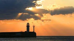 Lighthouse in Yalta at sunrise, Crimea stock footage