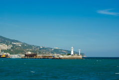 Lighthouse in Yalta, Ukraine. A view to the lighthouse in Yalta, Ukraine Royalty Free Stock Photography