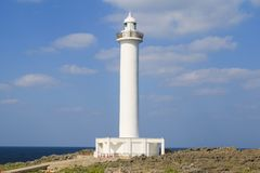 Lighthouse at Zanpa cape, Yomitan village, Okinawa. M Japan stock photos