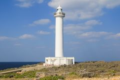 Lighthouse at Zanpa cape, Yomitan village, Okinawa. M Japan stock images
