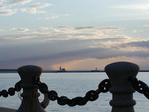 Lighthouses. In the distance as seen from the 9th Street Pier in Cleveland, OH royalty free stock images