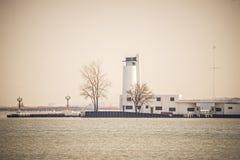 Lighthouses And Buoys On Coast Near Cleveland Ohio Lake Erie Stock Photography