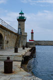 Lighthouses in Bastia harbour Royalty Free Stock Photos