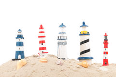 Lighthouses at the beach Stock Photography