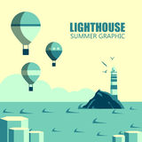 Lighthouses cartoon illustration. Lighthouses illustration. Design elements and icons in flat style. Cartoon lighthouse, balloons, clouds Stock Photo