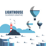 Lighthouses cartoon illustration. Lighthouses illustration. Design elements and icons in flat style. Cartoon lighthouse, balloons, clouds vector illustration